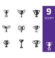 black trophy icons set vector image