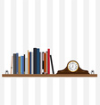 Books on shelf and table clock vector image vector image