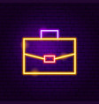 briefcase neon label vector image