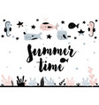 card with calligraphy lettering summer time in vector image vector image