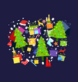 christmas background with holiday symbols vector image vector image