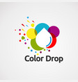 color drop with smart and elegant touch logo vector image