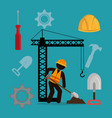 construction worker with under construction icons vector image