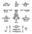 cook and dishes vector image