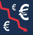 crashed euro sign and falling graph financial vector image