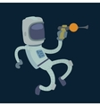 Cute astronaut in space working and having fun vector image vector image