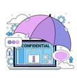 data safety cloud shield tablet padlock umbrella vector image vector image