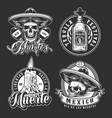 day dead vintage monochrome badges vector image vector image