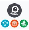 Electric car sign icon Sedan saloon symbol vector image vector image