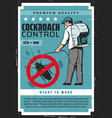 exterminator in protective suit cockroach control vector image vector image