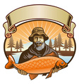 fisherman show his fish vector image