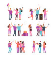 friendly people men women dancing singing and vector image
