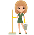 girl the cleaner vector image vector image