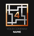 golden number four logo symbol in the square maze vector image vector image