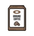 ground coffee bag vintage icon vector image vector image