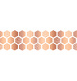 hexagon copper foil seamless border vector image vector image