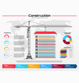 infographics with construction crane building vector image