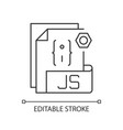 js file pixel perfect linear icon vector image vector image