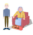 knitting grandmother together with vector image