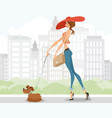 lady walking with a dog vector image