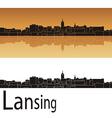 Lansing skyline in orange background vector image