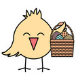 little chick with eggs painted in basket easter vector image vector image