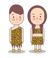 man and woman wearing tribal costume dress made of vector image