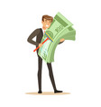 man in a business suit washing money sing mop vector image