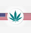 marijuana leaf with usas flag flat style vector image