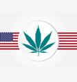 marijuana leaf with usas flag flat style vector image vector image