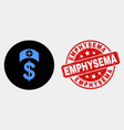 medicine price icon and grunge emphysema vector image vector image