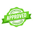 modern green approved badge vector image