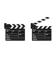 opened and closed cinema or film clapper vector image vector image