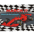 postcard-the beginning of the racing season vector image vector image