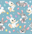 Seamless pattern easter rabbits on blue background
