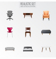 set of decoration realistic symbols with stool vector image vector image