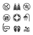 Swimming pool icons diving mask flippers and vector image