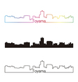 Toyama skyline linear style with rainbow vector image vector image