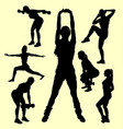 training sport female activity silhouette vector image vector image