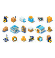 warehouse icons set storage equipment warehouse vector image