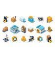 warehouse icons set storage equipment warehouse vector image vector image