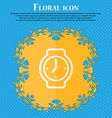 watches Floral flat design on a blue abstract vector image vector image