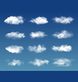 white fluffy clouds transparent fog on blue sky vector image