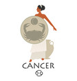 zodiac in style ancient greece cancer girl vector image