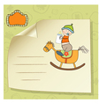 baby boy shower shower with wood horse toy vector image