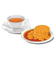 teacup with pancakes for breakfast vector image