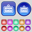 open icon sign A set of twelve vintage buttons for vector image