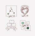 abstract heart vintage banner sketch set vector image vector image