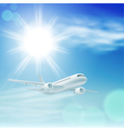 airplane in the sky with sun vector image vector image