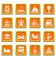 amusement park icons set orange square vector image vector image